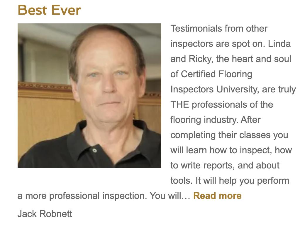 Jack Robnett Certified Flooring Inspector Lubbock, Texas